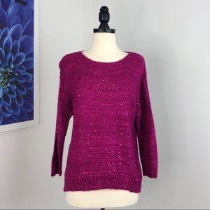 NWT Westbound Fuchsia Sequin Sweater